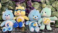 "Lot of 4 10"" Care Bears Plush Bedtime Bear x2 Beach Funshine & Wish Bear"
