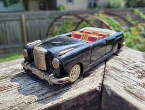 Vintage Mercedes Benz Convertible Car Bandai Friction Toy Japan Black Litho Tin