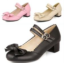 Ladies Us Sz Bowknot Block Heel Ankle Strap Sandals Mary Janes Cosplay Shoes Sz