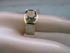 Unisex 14k Yellow Gold Plated 1.25Ct 7mm Dark Green Diamond Ring
