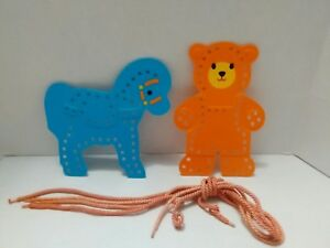 VINTAGE FISHER-PRICE PRESCHOOL HORSE AND BEAR LACE UP WITH FOUR SHOELACES