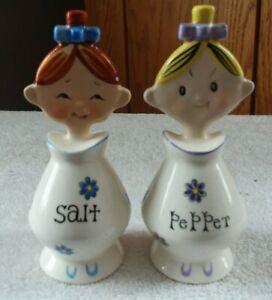 VINTAGE FLAT FACED PIXIE GIRLS SALT & PEPPER HOWARD HOLT