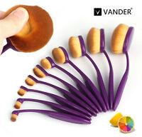 10Pcs Professional Oval Cream Makeup Brushes Set Foundation Kabuki Toothbrush