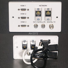 AV Wall Face Plate, 3x HDMI / 2x Cat6 network / TV aerial / 2x F-type sockets