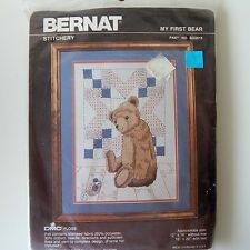 Bernat Teddy Bear Embroidery Crewel Kit w Quilt Background -Mouse- SO3015