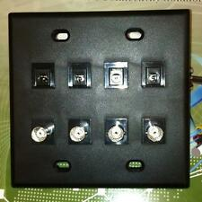 CUSTOM CCTV CAMERA FACE PLATE 4 2.1mm POWER & BNC FEMALE PORTS BLACK 2 DUAL GANG