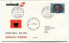 FFC 1986 Swissair First Mail Flight Zurich Tirana Albania Flughafen Albtransport