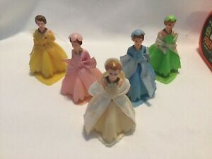 VINTAGE BRIDESMAID CAKE TOPPERS 1950'S NICE multi color wedding plastic