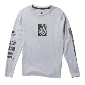 VOLCOM Boys Anti UV Long Sleeve Rashguard Shirt w/ UPF 30+, Gray, S - ($35)