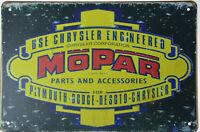 "MOPAR Motor Engine for Chrysler Corp Dodge Retro Metal Tin Sign Plaque 12x8"" NEW"