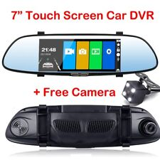 "7"" 1080p Dual Lens Car DVR Dash Cam Front Rearview Mirror Video Camera Recorder"