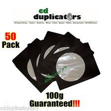 50 Black CD DVD Paper Sleeves 100g Premium Quality W/ Window & Flap