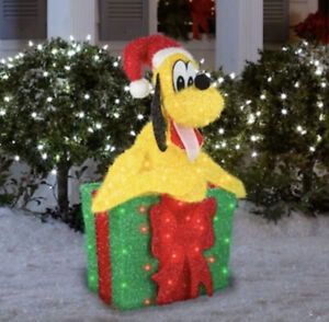 """32"""" CHRISTMAS LIGHTED 3-D TINSEL PLUTO IN GIFT BOX DISNEY LICENSED YARD DECOR"""