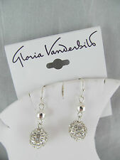 NWT Gloria Vanderbilt SILVER & RHINESTONE ROUND  BALL DANGLE EARRINGS, Sparkly