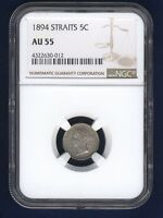 STRAITS SETTLEMENTS VICTORIA 1894 5 CENTS SILVER COIN, CERTIFIED NGC AU-55