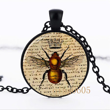 Bee a Writer Necklace photo Glass Dome black Chain Pendant Necklace wholesale