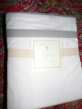 POTTERY BARN  DECORATOR GRAY BAND SHEET SET, NEW, ADULT,TEEN, QUEEN