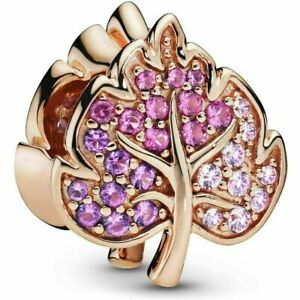 Genuine Pandora Rose Gold ALE R Sparkling Leaf Crystal Charm 788322NPMMX