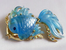 VTG Hattie Carnegie pearly Blue Marbleized Lucite Crystal Gold Fish Pin Brooch