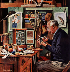 Saturday Evening Post Building Lures  Fly fishing Fridge Magnet 2.5 x 3.5