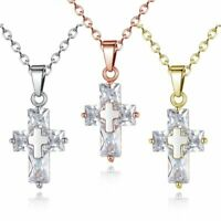 Luxury 925 Silver Cross Zircon Pendant Necklace Choker Chain Women Party Jewelry