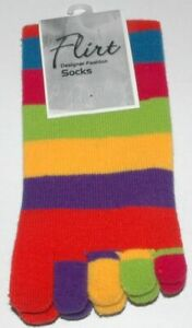 Ladies Girl Color striped five finger Toe Socks Striped One Size Fit All A002.5B