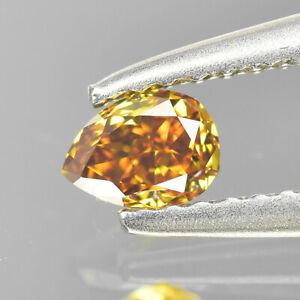 Fancy Yellow Orange Diamond   0.09 cts Pear Shape   Untreated Fancy