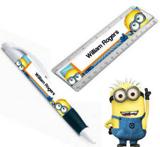 PERSONALISED (MINIONS) PEN /RULER SET STATIONARY Kids/Children School Gift/Party