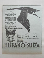 2/1933 PUB HISPANO-SUIZA MOTEUR AVIATION COMPRESSEUR REDUCTEUR CIGOGNE AD