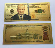 2 US President Donald Trump 24K Gold Plated Novelty Dollars Bill Banknote Gift