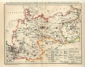 1898 MILITARY DISLOCATIONS ARMIES GERMANY REICH FRANCE RUSSIA POLAND CZECH Map
