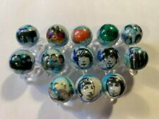 THE BEATLES glass marbles lot 5/8 size + stands