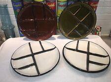 (4) Vintage Adolf Burkart Handarbeit Switzerland FONDUE ceramic sectioned plates