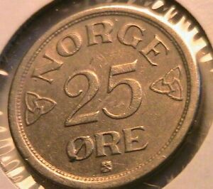 1953 Norway 25 Ore Choice AU Lustrous Original Norge Twenty Five Ore World Coin