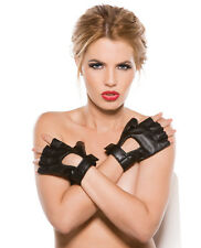 Sexy & Stylish Allure Lingerie Faux Leather Fingerless Short Gloves Black O/S