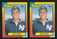 JIM LEYRITZ 1990 TOPPS TRADED 2 CARD ROOKIE LOT #61T NY YANKEES
