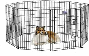 "30"" Tall Dog Cat Metal Playpen Crate Fence Pet Foldable Exercise Cage, with Door"