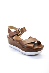 Michael Michael Kors Womens Leather Cross Strap Wedge Heels Brown Size 8.5 M