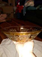 Yellow Amber Depression Glass Serving Bowl