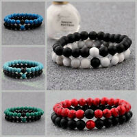 2X Distance Bracelets Lovers Couples Matching Gifts Matte Agate 8mm Bead Stone