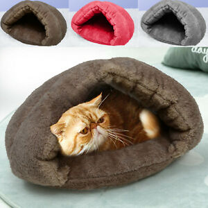 Puppy Pet Cat Dog Nest Bed Soft Warm Cave House Pad Winter Sleeping Bag Mat