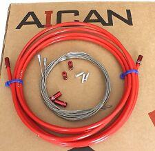 Aican Premium bike Road Brake cable housing set kit Alloy Ferrules Red