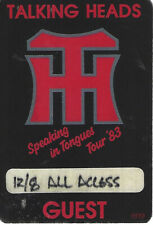 1983 Talking Heads Speaking in Tongues All Access Concert Satin Pass 12/8/1983