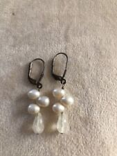 Authentic Pearl And Crystal Bead Silver Dangle Earrings