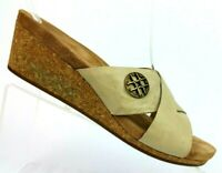 UGG Australia Lyra Taupe Leather Cork Wedge Sandals 1009854 Women's 9 / EUR 40