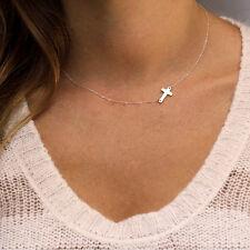 Women Fashion Cross Necklace Chic Tiny Cross Pendant Chains Collar Necklace Ja