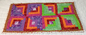 Patchwork Quilt Table Topper, Runner, Log Cabin, Hand Made, Purple, Green, Pink