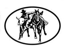 Equine Discipline Oval Vinyl Decal Black & White Sticker - Steer Wrestling