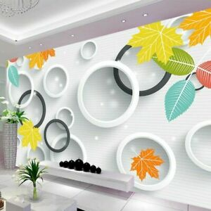 3D Modern Circle Leaves Leaf Art Wall Mural Wallpaper Living Room Bedroom Lounge