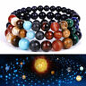 Eight Planets Bead Bracelet Natural Stone Universe Yoga Chakra Bangle Men Women